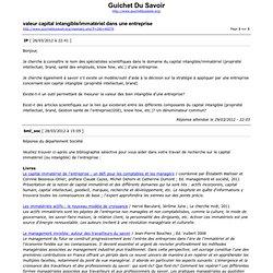 Guichet du savoir - Bibliographie capital intangible/immatériel