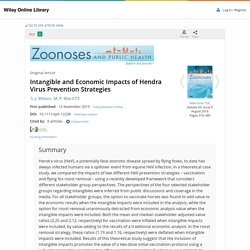 Zoonoses Public Health. 2016 Aug;63(5):374-85. Intangible and Economic Impacts of Hendra Virus Prevention Strategies.