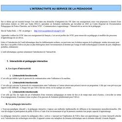 L'INTEACTIVITE AU SERVICE DE LA PEDAGOGIE