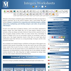 Free Printable Integers Worksheets