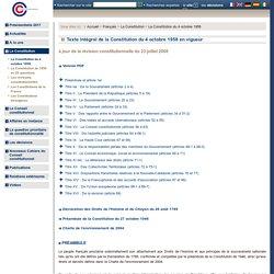 Texte intégral de la Constitution du 4 octobre 1958 en vigueur