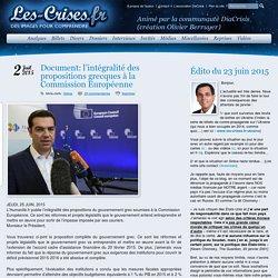 » Document: l'intégralité des propositions grecques à la Commission Européenne