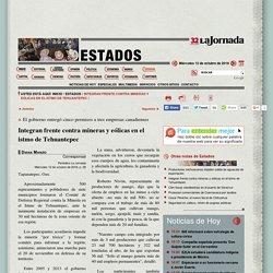 Integran frente contra mineras y eólicas en el istmo de Tehuantepec
