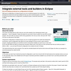 Integrate external tools and builders in Eclipse