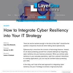 How to Integrate Cyber Resiliency into Your IT Strategy