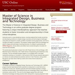 Master of Science in Integrated Design, Business and Technology