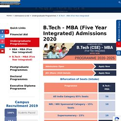 Nirma B.Tech MBA Five Year Integrated Course Admissions 2020