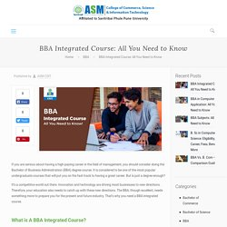 BBA Integrated Course: All You Need to Know