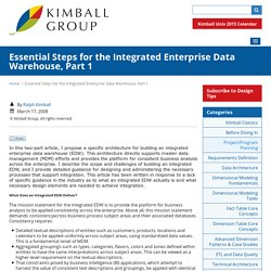 Essential Steps for the Integrated Enterprise Data Warehouse, Part 1