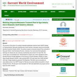 CURRENT WORLD ENVIRONMENT 24/06/16 Modelling Integrated Wastewater Treatment Plant for Agro Industry Zone in Banyuasin, South Sumatera, Indonesia