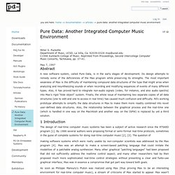 Pure Data: another integrated computer music environment