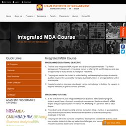 Integrated MBA Courses - GITAM Institute of Management