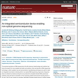An integrated semiconductor device enabling non-optical genome sequencing : Nature