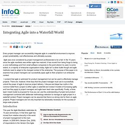 Integrating Agile into a Waterfall World