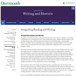 Integrating Reading and Writing | Institute for Writing and Rhetoric