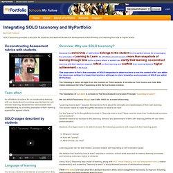 Integrating SOLO taxonomy and MyPortfolio