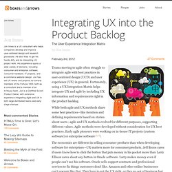 Integrating UX into the Product Backlog