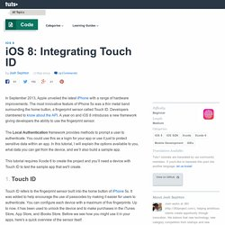 iOS 8: Integrating Touch ID - Tuts+ Code Tutorial