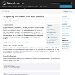 Integrating WordPress with Your Website