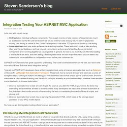 Integration Testing Your ASP.NET MVC Application « Steve Sanders