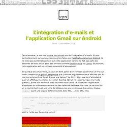 L'intégration d'e-mails et l'application Gmail sur Android