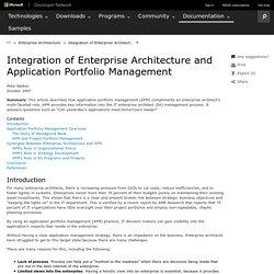 Integration of Enterprise Architecture and Application Portfolio Management