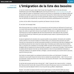 L'intégration de la liste des besoins – Guillaume CNV