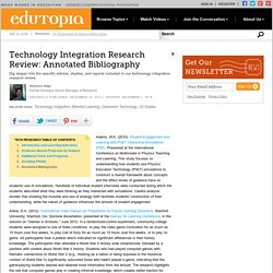 Technology Integration Research Review: Annotated Bibliography