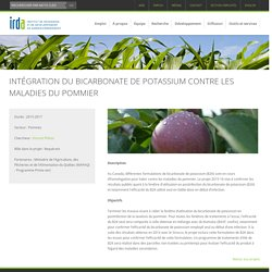 IRDA - Nouveau programme de recherche 2015-2018 - INTÉGRATION DU BICARBONATE DE POTASSIUM CONTRE LES MALADIES DU POMMIER