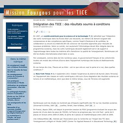 Intégration des TICE : des résultats soumis à conditions