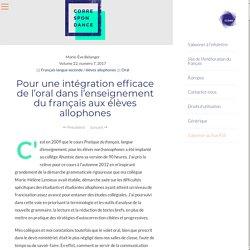 Pour une intégration efficace de l'oral dans l'enseignement du français aux élèves allophones – Correspondance