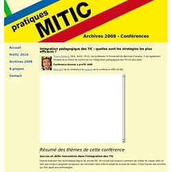 pratiques MITIC - Colloque pour l'intégration concrète des MITIC dans l'enseignement primaire