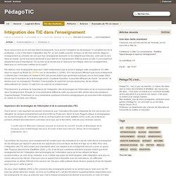 Intégration des TIC dans l'enseignement