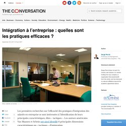 Intégration à l'entreprise: quelles sont lespratiques efficaces?