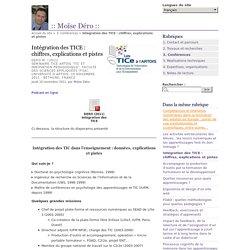 Intégration des TICE : chiffres, explications et pistes -