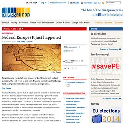 Federal Europe? It just happened | Presseurop – English