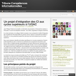 Un projet d'intégration des CI aux cycles supérieurs à l'UQAC