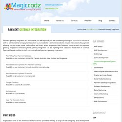 Payment Gateway Integration Services India - Magiccodz Software Solutions, Kochi