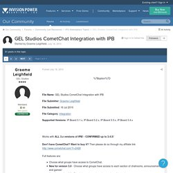 GEL Studios CometChat Integration with IPB - IPS Marketplace Topics - Invision Power Services