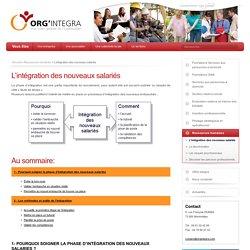 L'intégration des nouveaux salariés - ORG Integra