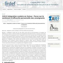 320/4 Intégration scolaire en Suisse : Focus sur le sentiment d'efficacité personnelle des enseignants
