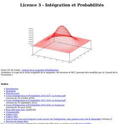 Licence 3 Maths - Intégration et Probabilités