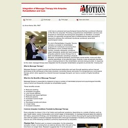 inMotion: Integration of Massage Therapy into Amputee Rehabilitation and Care