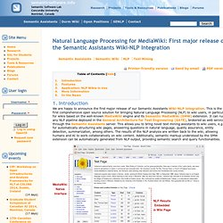 Natural Language Processing for MediaWiki: First major release of the Semantic Assistants Wiki-NLP Integration