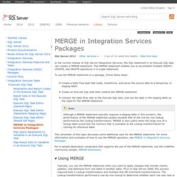 Using MERGE in Integration Services Packages