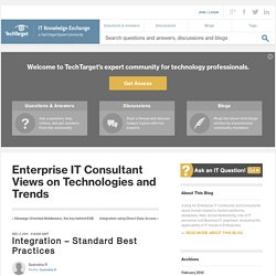 Integration – Standard Best Practices - Enterprise IT Consultant Views on Technologies and Trends