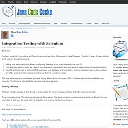 Integration Testing with Selenium