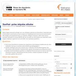 SharePoint : gestion, intégration, utilisation