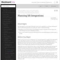 Planning SIS Integrations - Blackboard Help