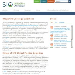 Integrative Oncology Guidelines